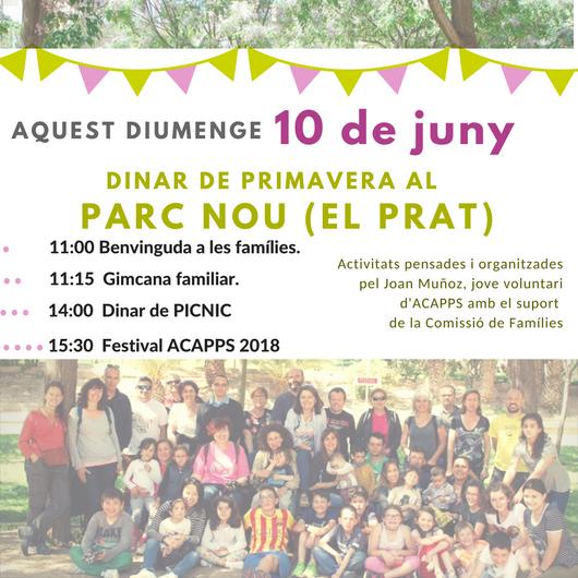 Aquest diumenge 10 de juny SÍ!: Dinar de Primavera al Parc Nou (El Prat)