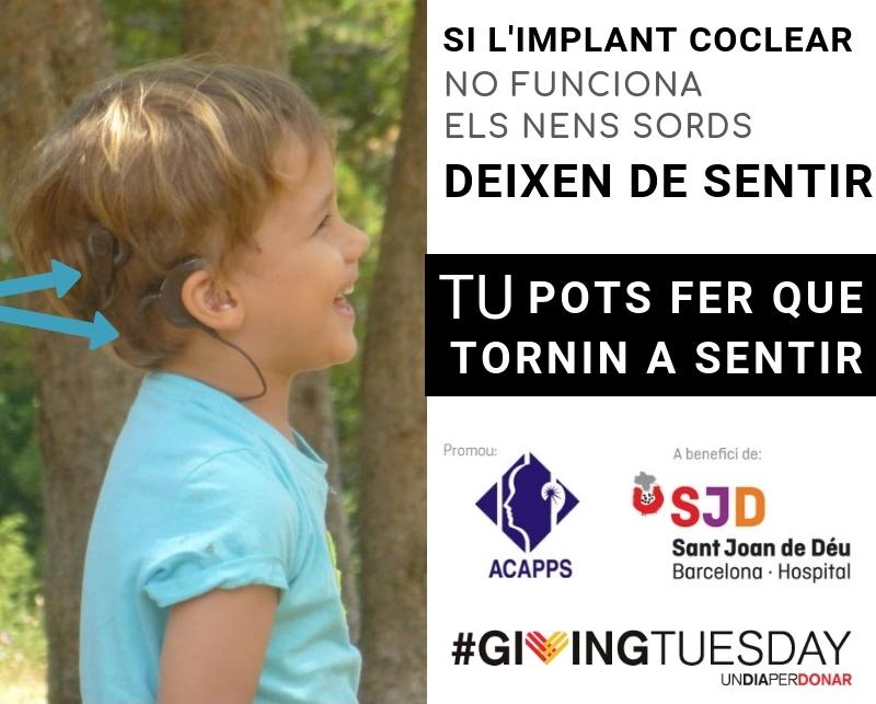 Fem guardiola amb l'Hospital Sant Joan de Déu perquè cap infant sord es quedi sense poder sentir #GivingTuesday