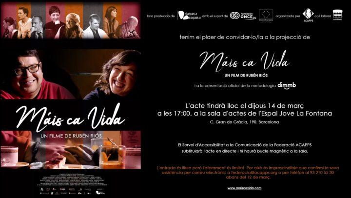 El 14 de març, no et perdis la presentació del filmMáis ca Vida i de la metodologia DIMMB!