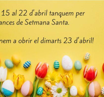 ACAPPS tanca per vacances del 15 al 22 d'abril. Tornem el 23, per Sant Jordi!