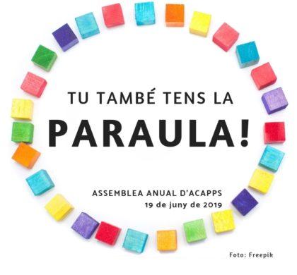 19 de juny: Assemblea anual d'ACAPPS oberta a les persones sòcies