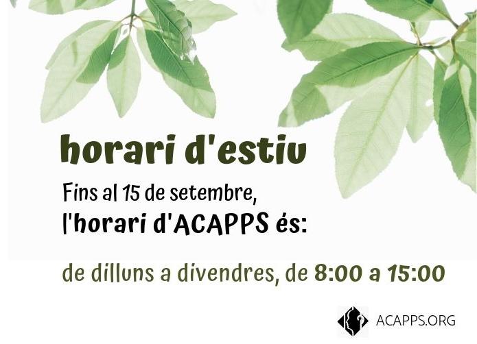 Horari d'estiu d'ACAPPS