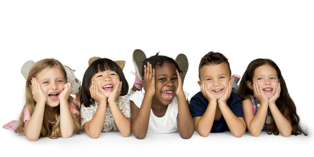 Cheerful children having a great time together