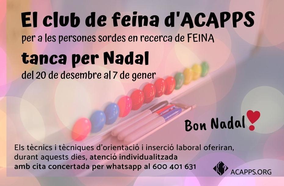 El Club de Feina d'ACAPPS tanca per Nadal fins el 7 de gener