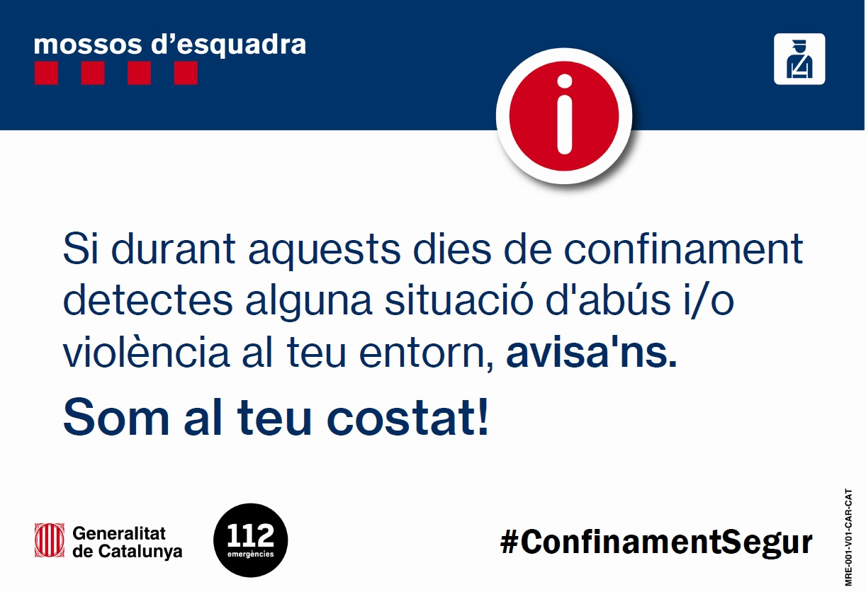 PER DENUNCIAR CASOS DE VIOLÈNCIA MASCLISTA I DOMÈSTICA #CONFINAMENTSEGUR