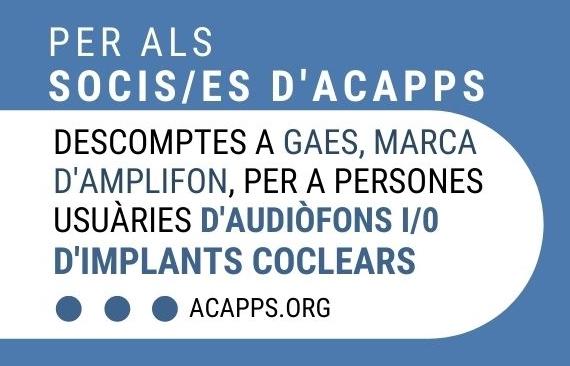 Per a socis/es d'ACAPPS: avantatges i descomptes a la botiga online de GAES, marca d'Amplifon