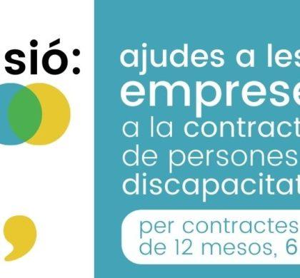 Ajudes a les empreses de  6.650€ per a contractes de 12 mesos de persones amb discapacitat