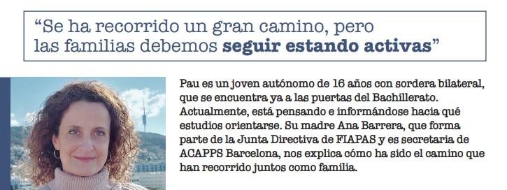 """""""S'ha recorregut un gran camí però les famílies hem de continuar actives"""", Ana Barrera, mare del Pau i secretaria d'ACAPPS"""